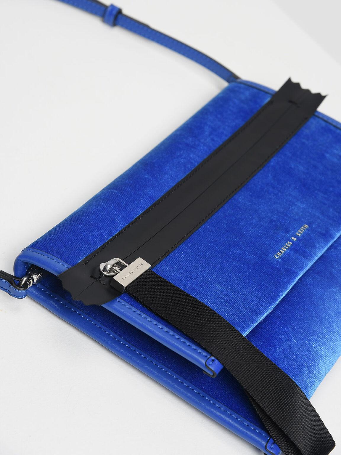나일론 스트랩 지퍼 클러치, Blue, hi-res