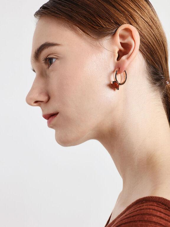 Red Jasper Stone Huggie Hoop Earrings, Rose Gold