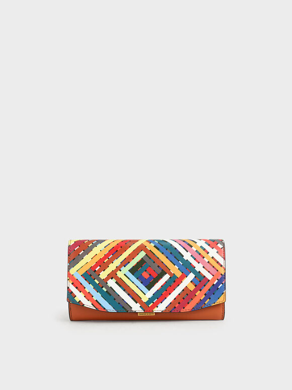 Mini Printed Long Wallet, Multi, hi-res