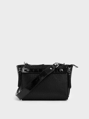 Rectangle Mesh Crossbody Bag, Black