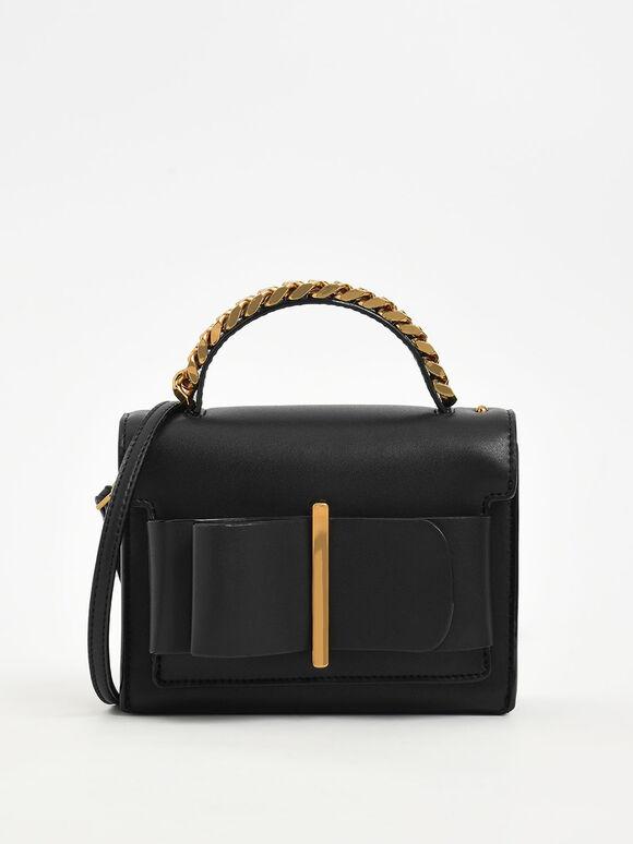 蝴蝶結金屬手提包, 黑色, hi-res