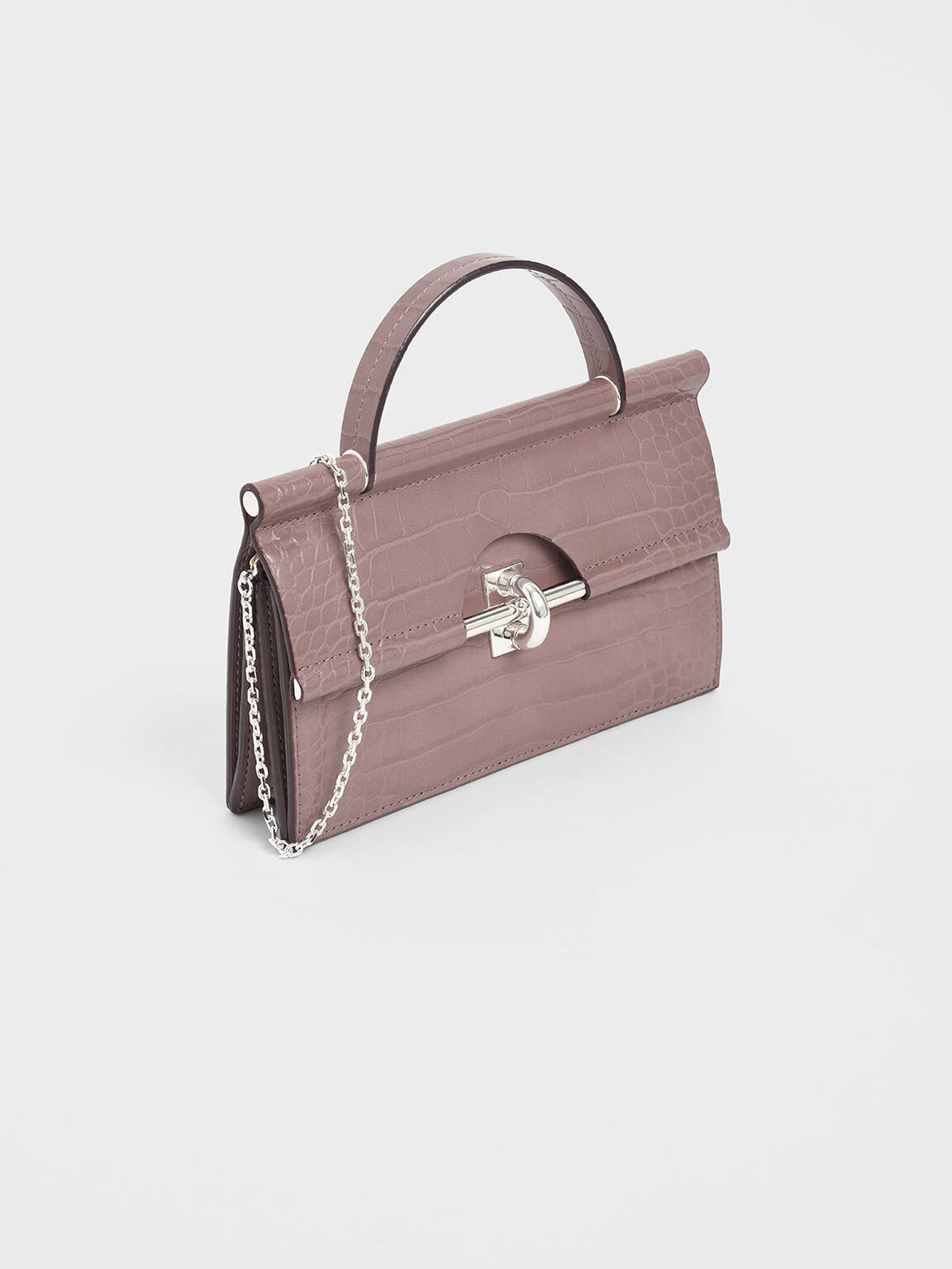 Croc-Effect Single Top Handle Wallet, Mauve, hi-res