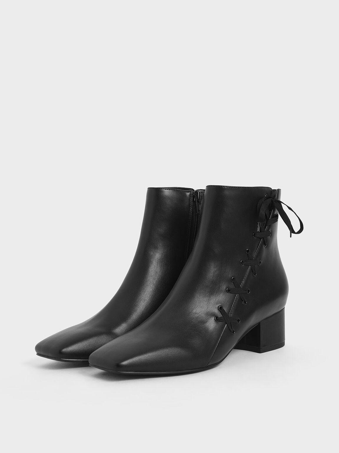 Ribbon Detail Ankle Boots, Black, hi-res
