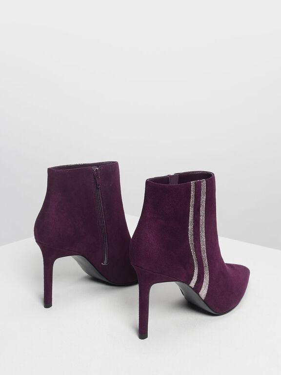 Glitter Stripe Detail Ankle Boots, Prune
