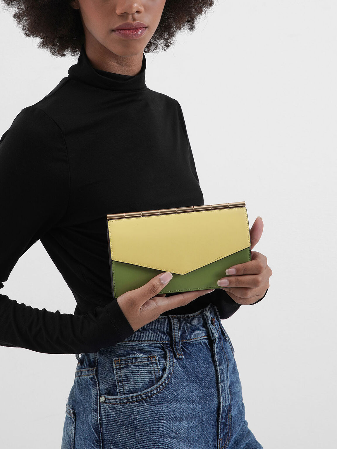 Mini Two-Tone Long Envelope Wallet, Multi, hi-res