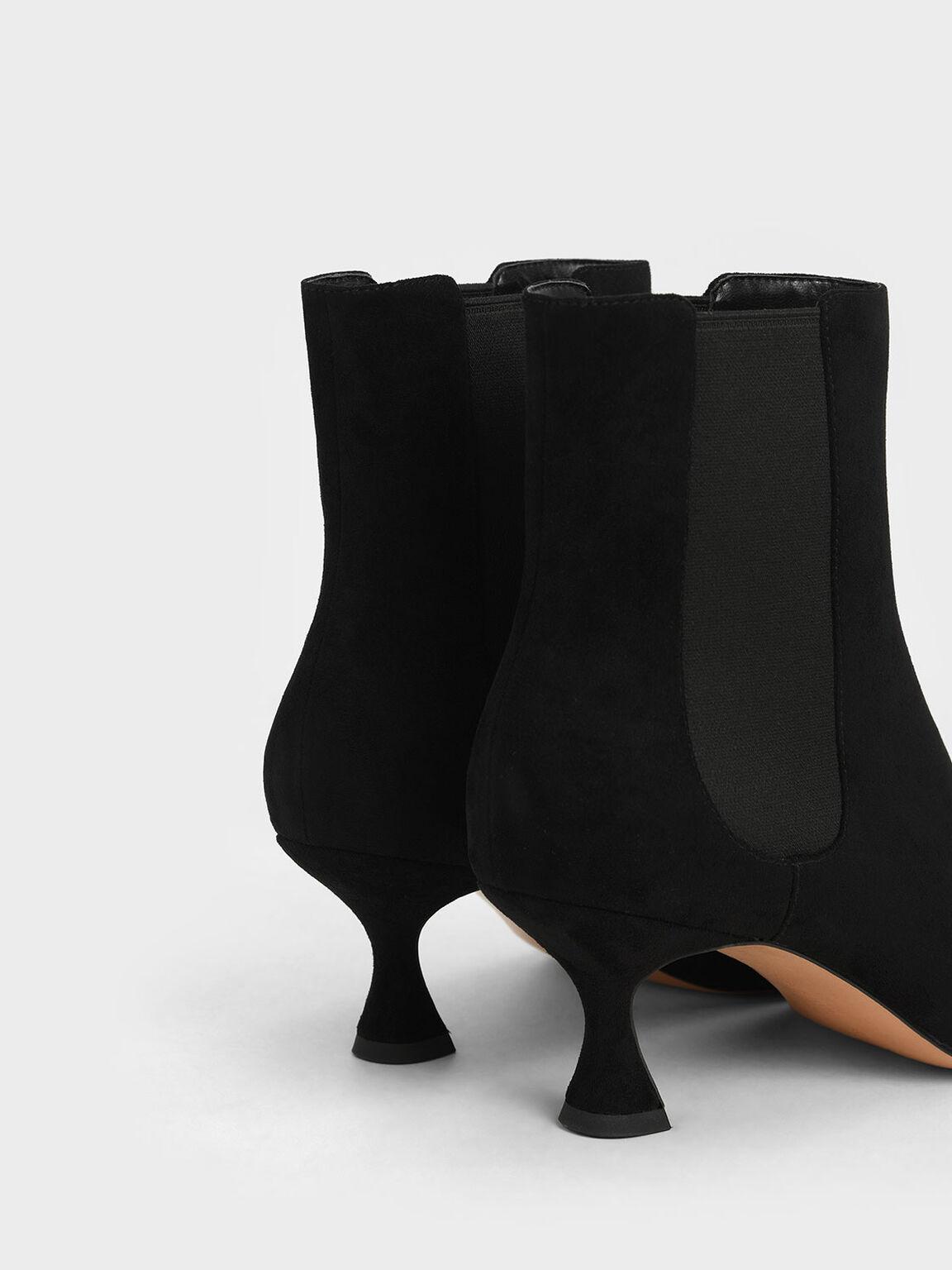 Textured Spool Heel Chelsea Boots, Black Textured, hi-res