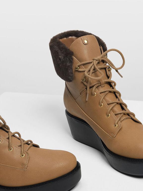 Furry Cuff Laced Up Boots, Cognac, hi-res