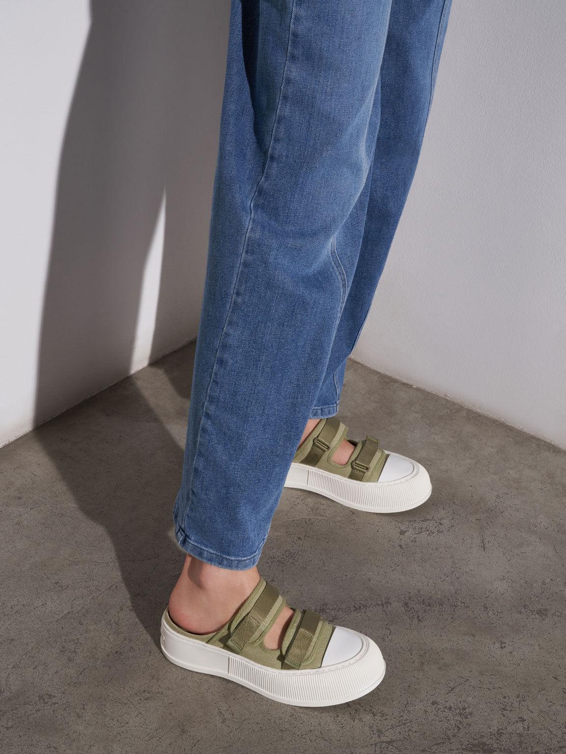 有機棉厚底懶人鞋, 綠色, hi-res