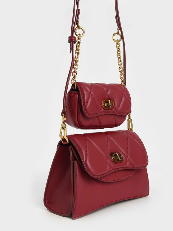 Padded Double Pocket Shoulder Bag, Red, hi-res