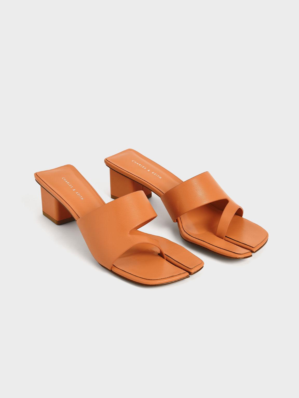 粗跟分趾拖鞋, 橘色, hi-res