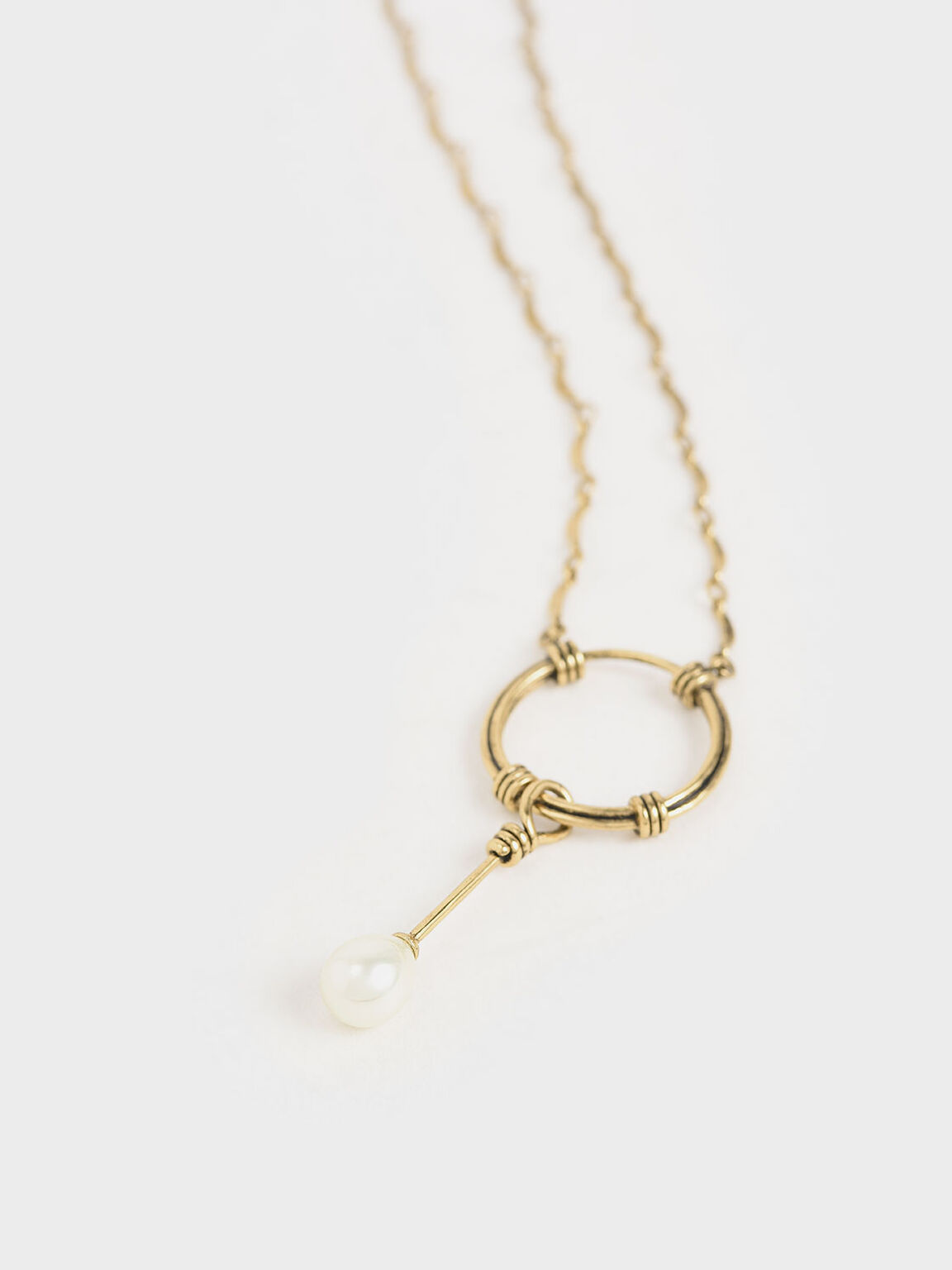 Pearl Drop Necklace, Gold, hi-res