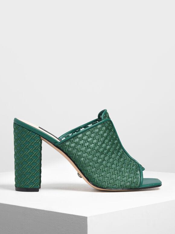 Mesh Block Heeled Slide Sandals, Green, hi-res