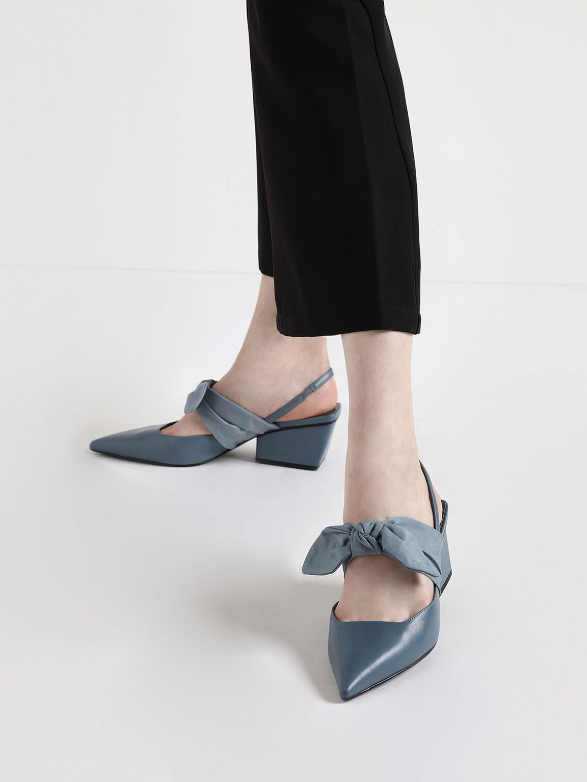 Grosgrain Bow Chunky Heel Slingback Pumps, Light Blue, hi-res