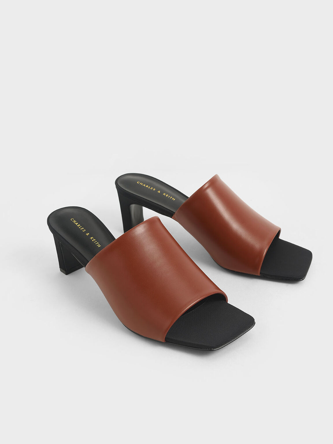 Blade Heel Mules, Brown, hi-res