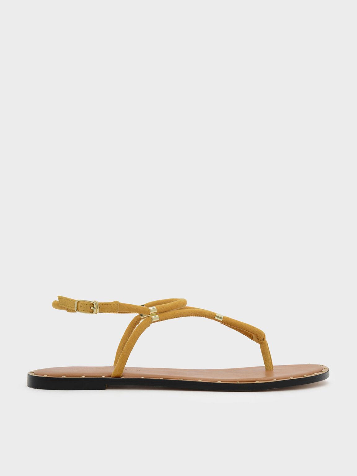 夾腳平底涼鞋, 黃色, hi-res
