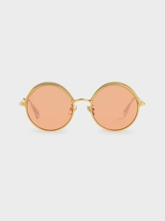Half Rim Round Sunglasses, Orange, hi-res