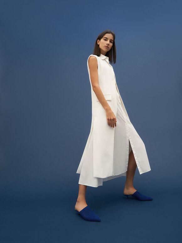 針織低跟穆勒拖鞋, 藍色, hi-res
