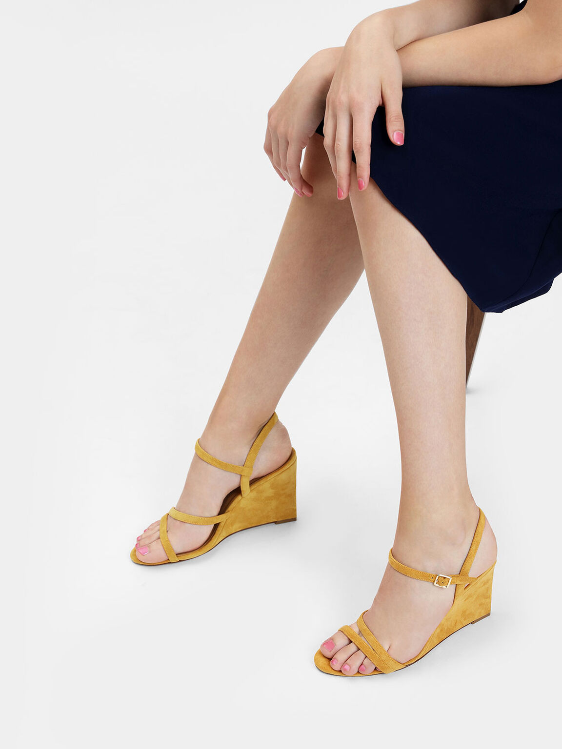 Strappy Wedge Sandals, Yellow, hi-res