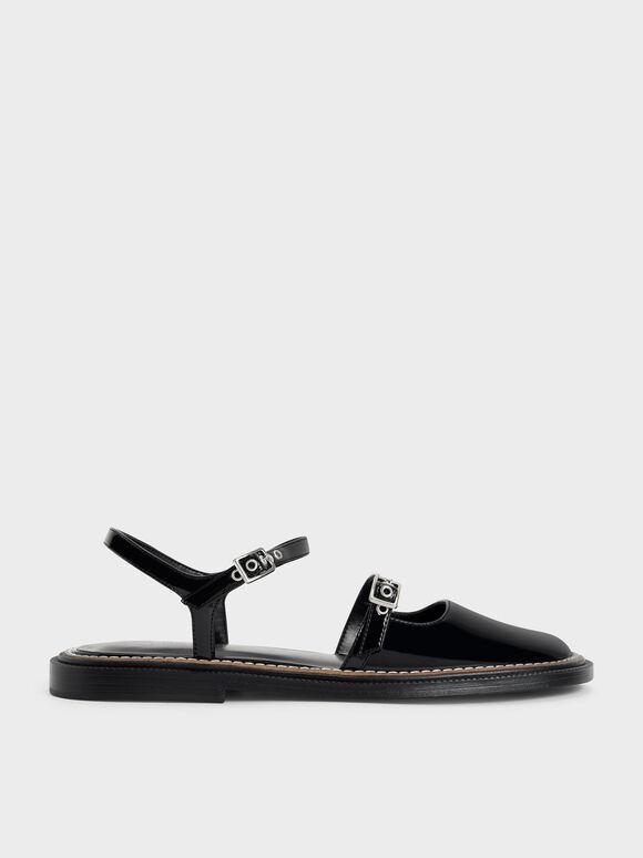 車縫線繞踝平底鞋, 黑色, hi-res