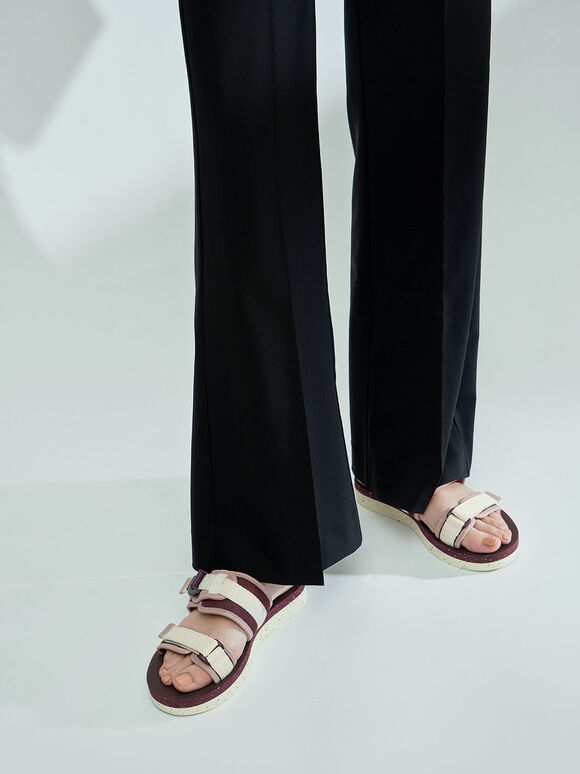 雙帶厚底拖鞋, 酒紅色, hi-res