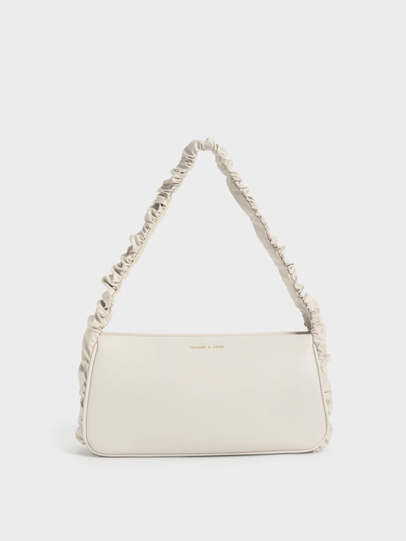 Riley Ruffle-Trim Bag, Cream, hi-res