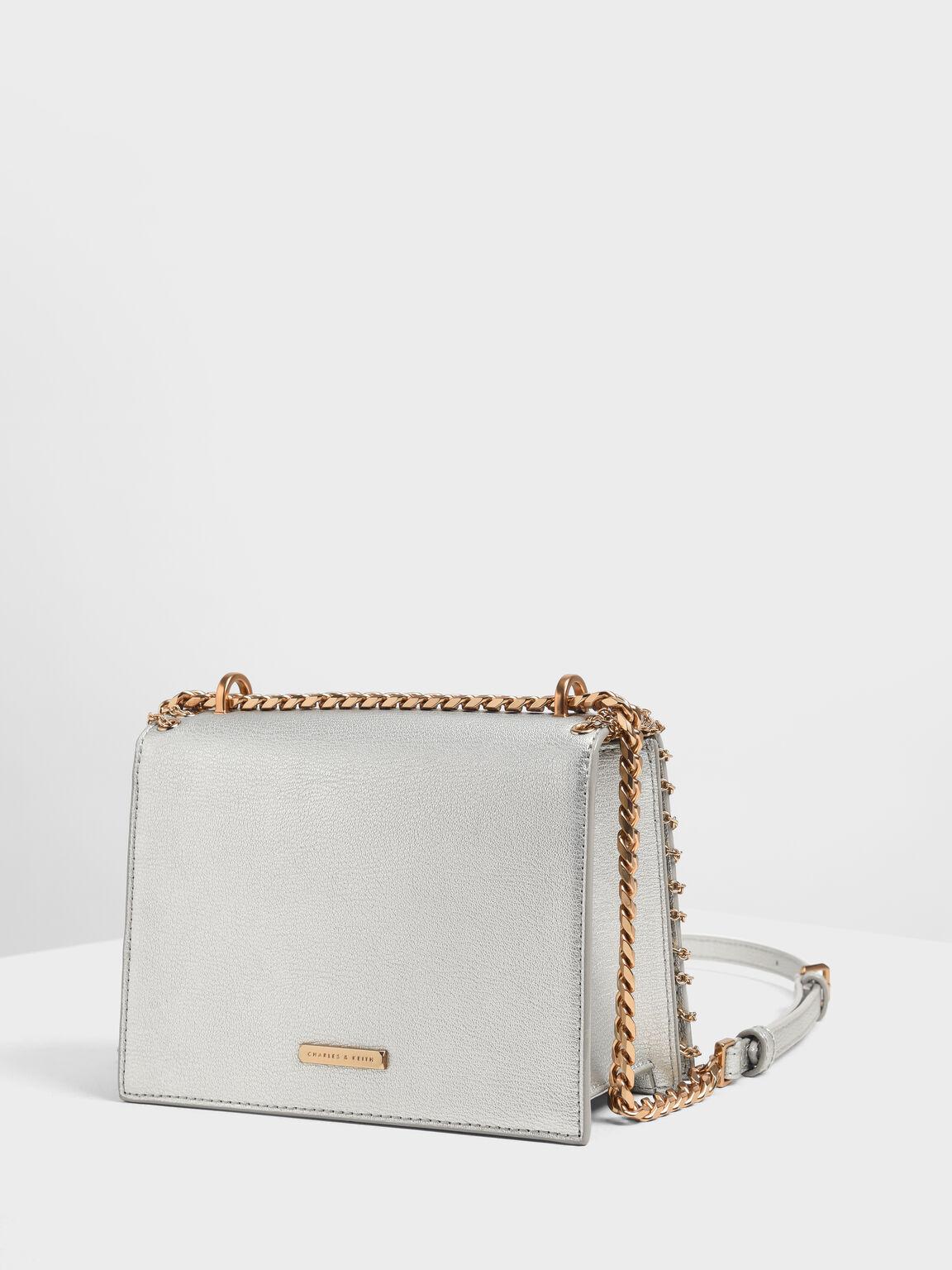 Chain Trim Crossbody Bag, Silver, hi-res