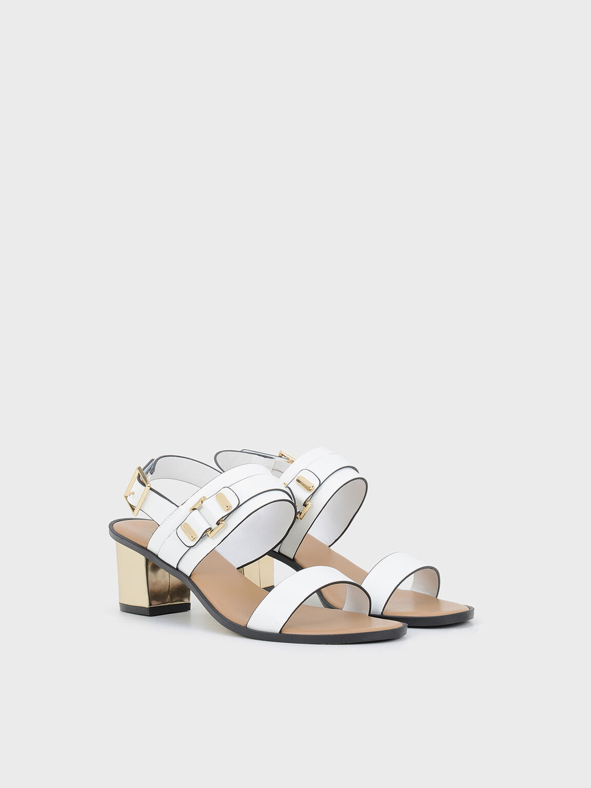 Heeled Sandals, White, hi-res