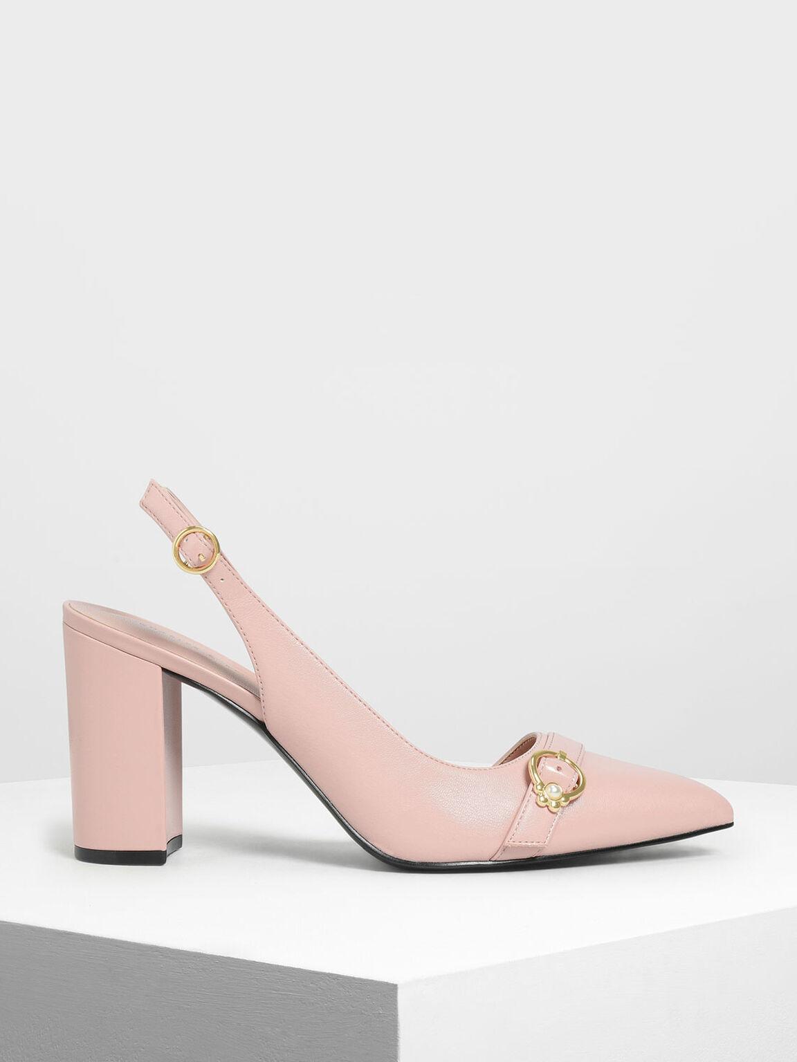 Embellished Asymmetrical Heels, Peach, hi-res