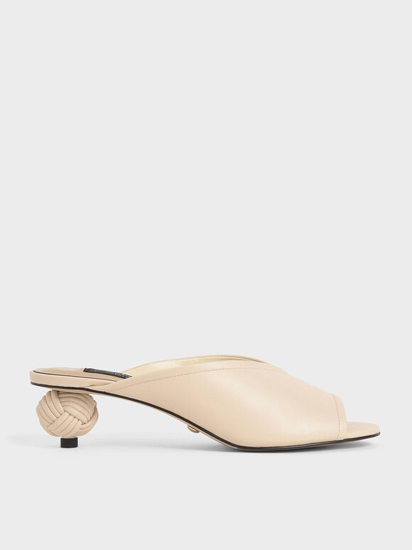 Leather Sculptural Heel Open Toe Mules, Chalk, hi-res