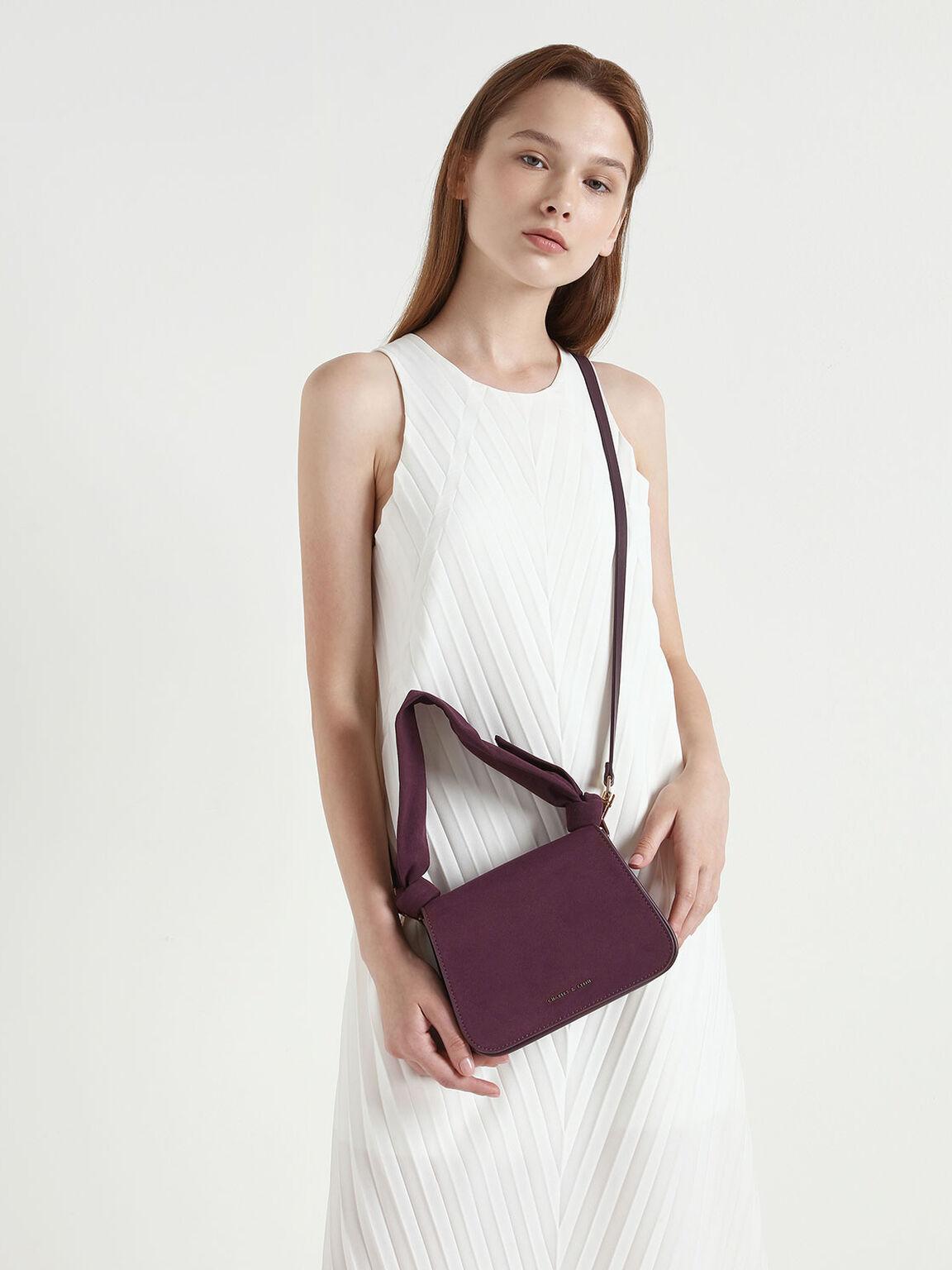 扭結斜背包, 紫色, hi-res