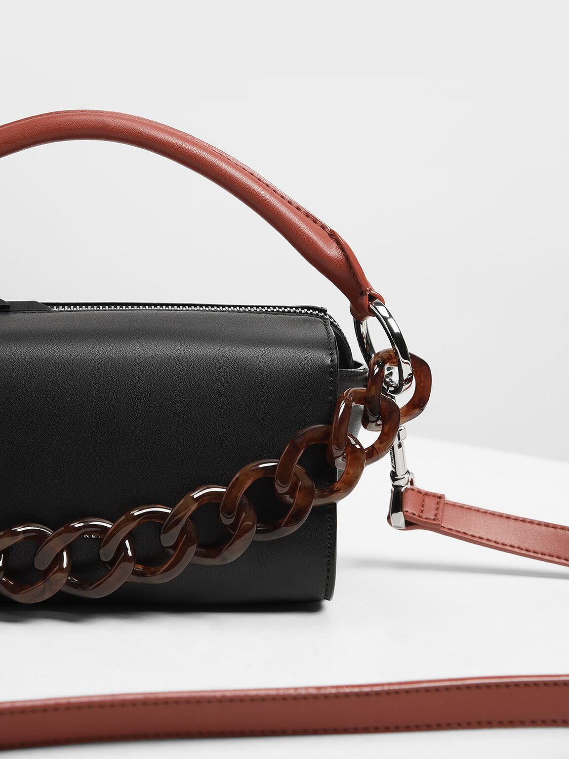 Chunky Chain Bar Clutch, Black, hi-res