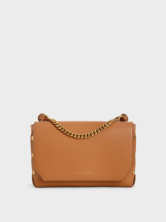Studded Chain Link Shoulder Bag, Cognac, hi-res