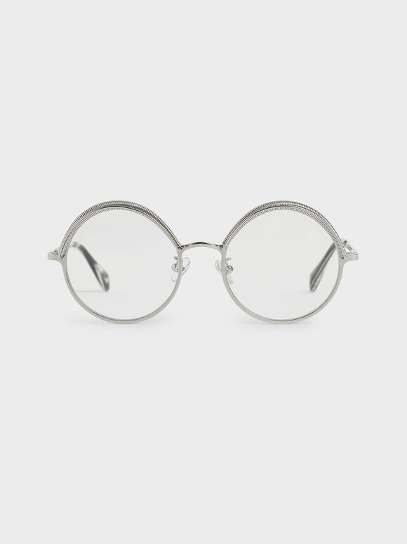 Half Rim Round Sunglasses, White, hi-res