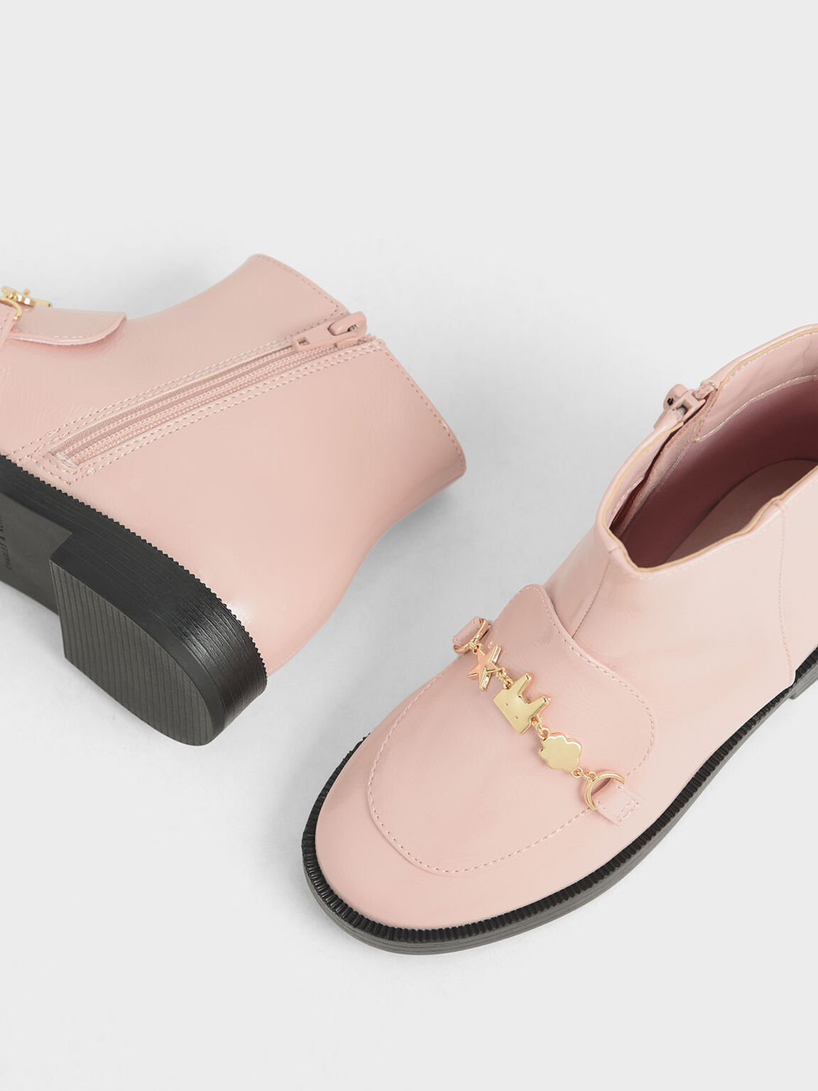 Girl's Wrinkled Patent Charm Ankle Boots, Pink, hi-res