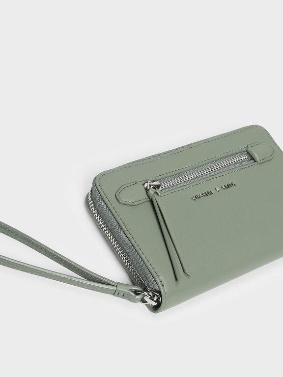 Zipped Wristlet, Sage Green, hi-res