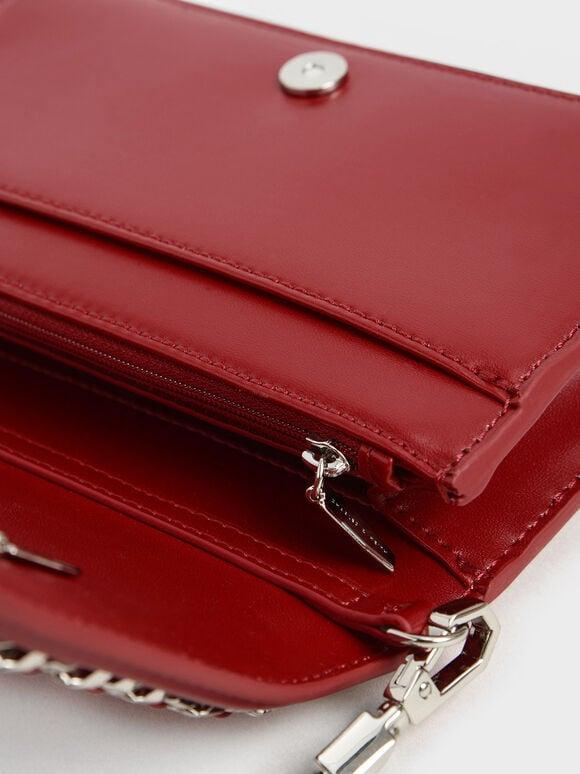 鍊條鑲邊手拿包, 紅色, hi-res