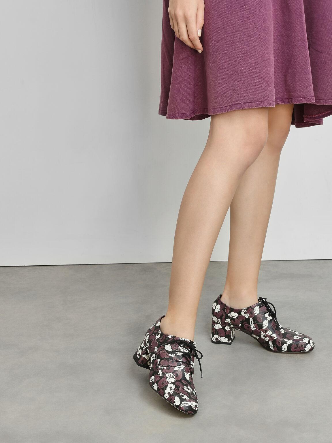 Block Heel Derby Shoes, Purple, hi-res