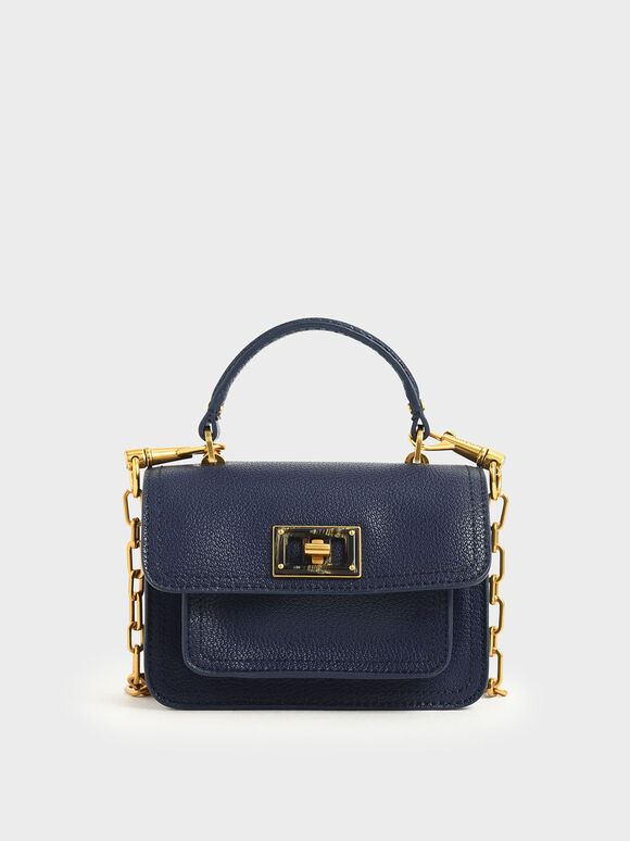 Resin-Effect Buckle Mini Bag, Dark Blue, hi-res