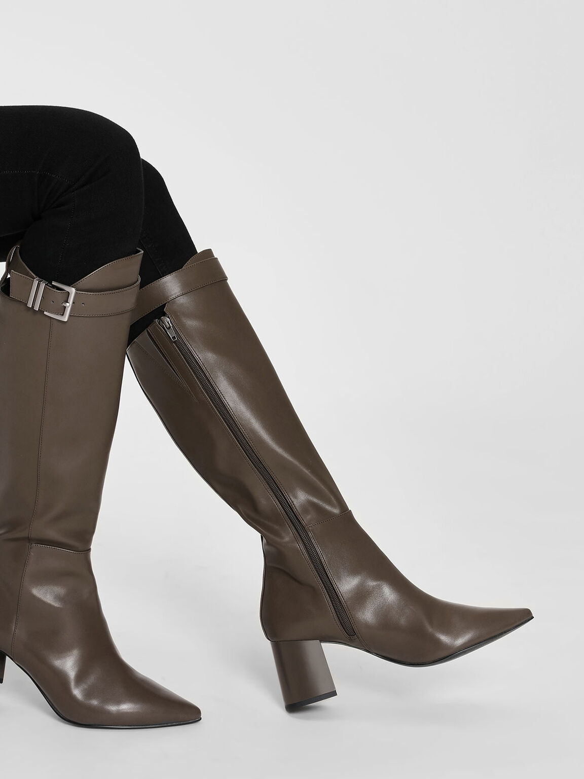 Buckled Strap Detail Knee Boots, Military Green, hi-res