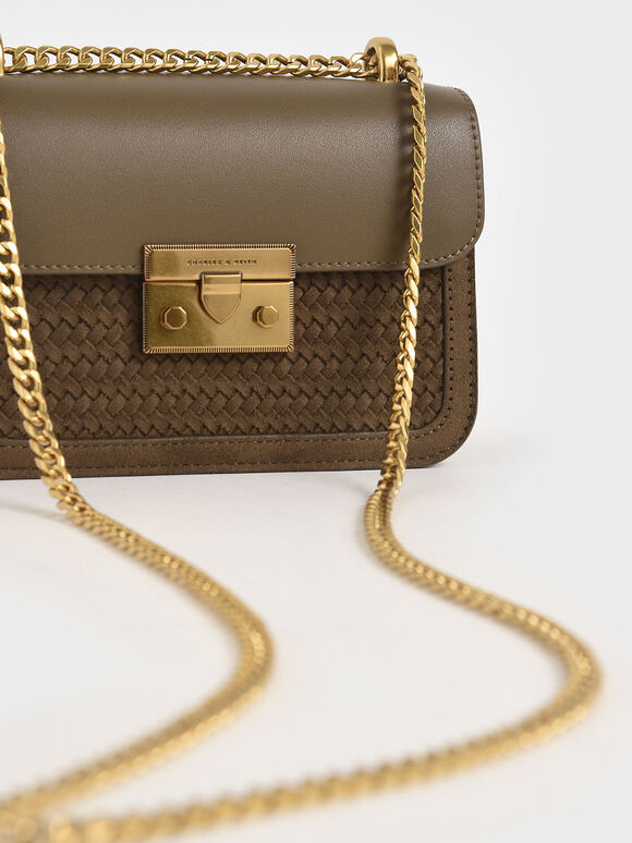 Woven Push-Lock Crossbody Bag, Khaki, hi-res