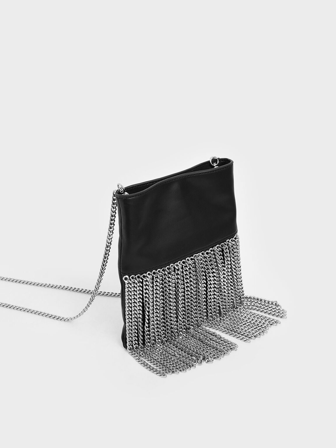 Chain Fringe Mini Crossbody Bag, Black, hi-res