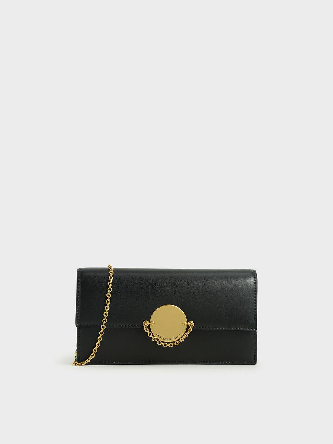 Metallic Push-Lock Wallet, Black, hi-res