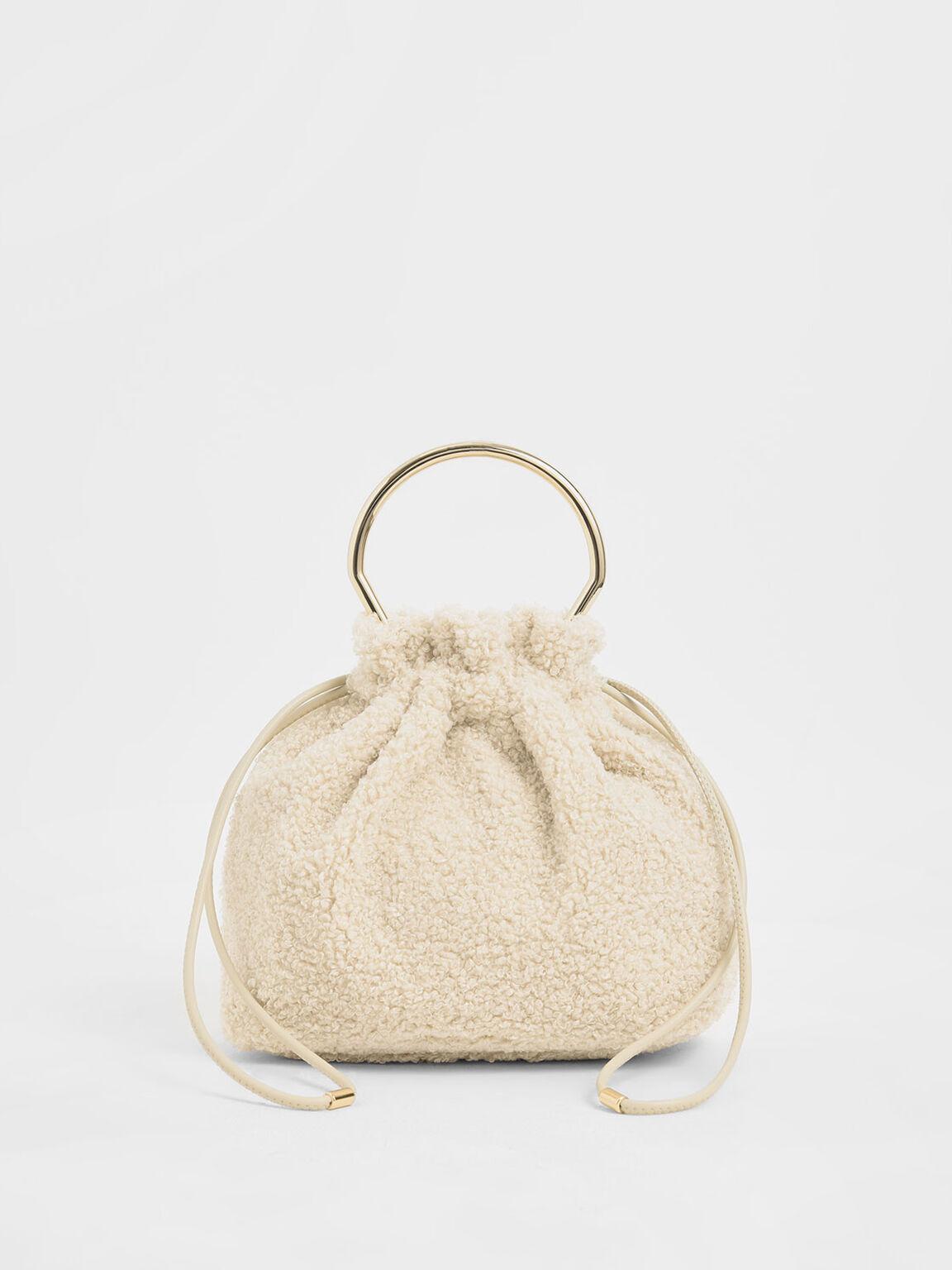 Mini Sculptural Top Handle Drawstring Bucket Bag, Chalk, hi-res