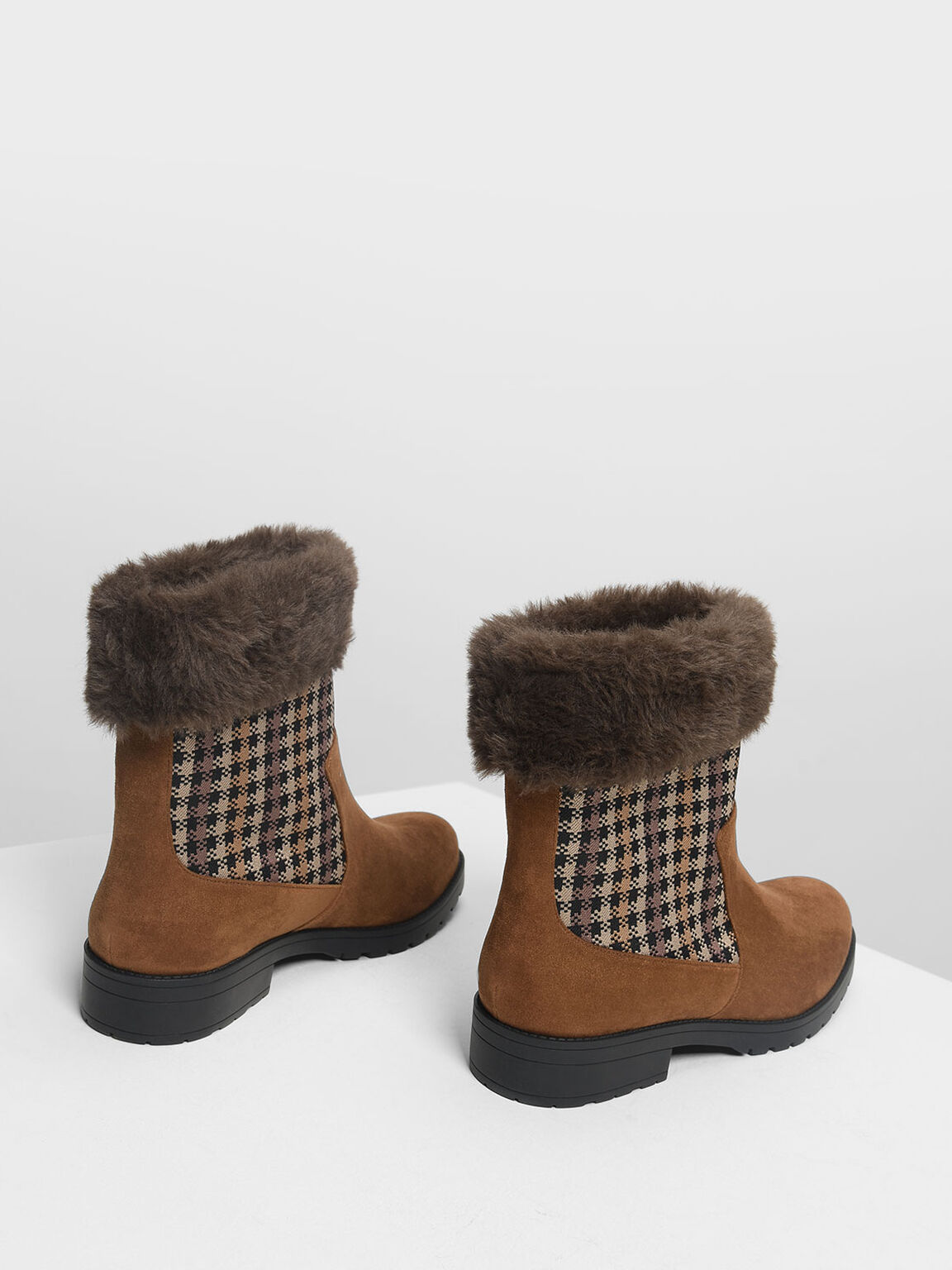 Furry Cuff Printed Boots, Cognac, hi-res