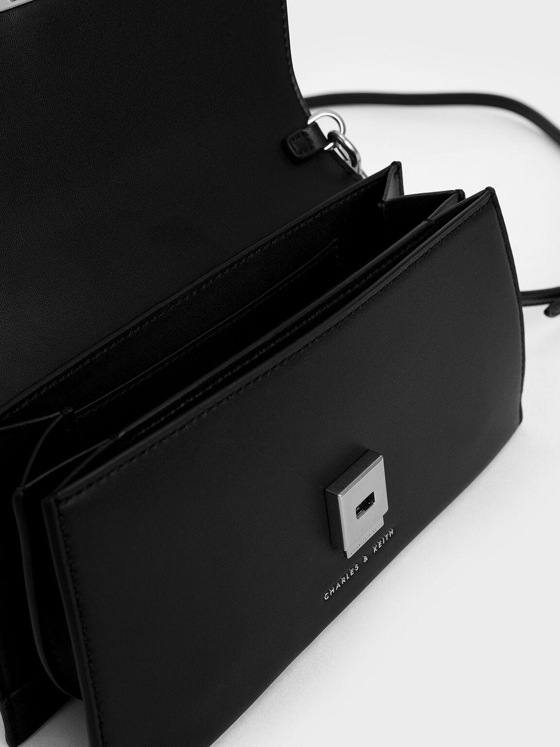 Trapeze Front Flap Bag, Black, hi-res
