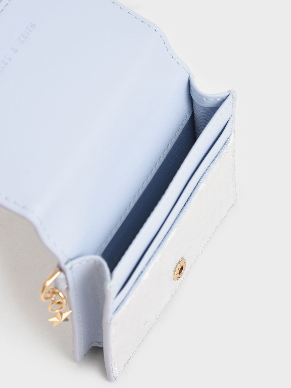 Velvet Embellished Card Holder, Light Blue, hi-res