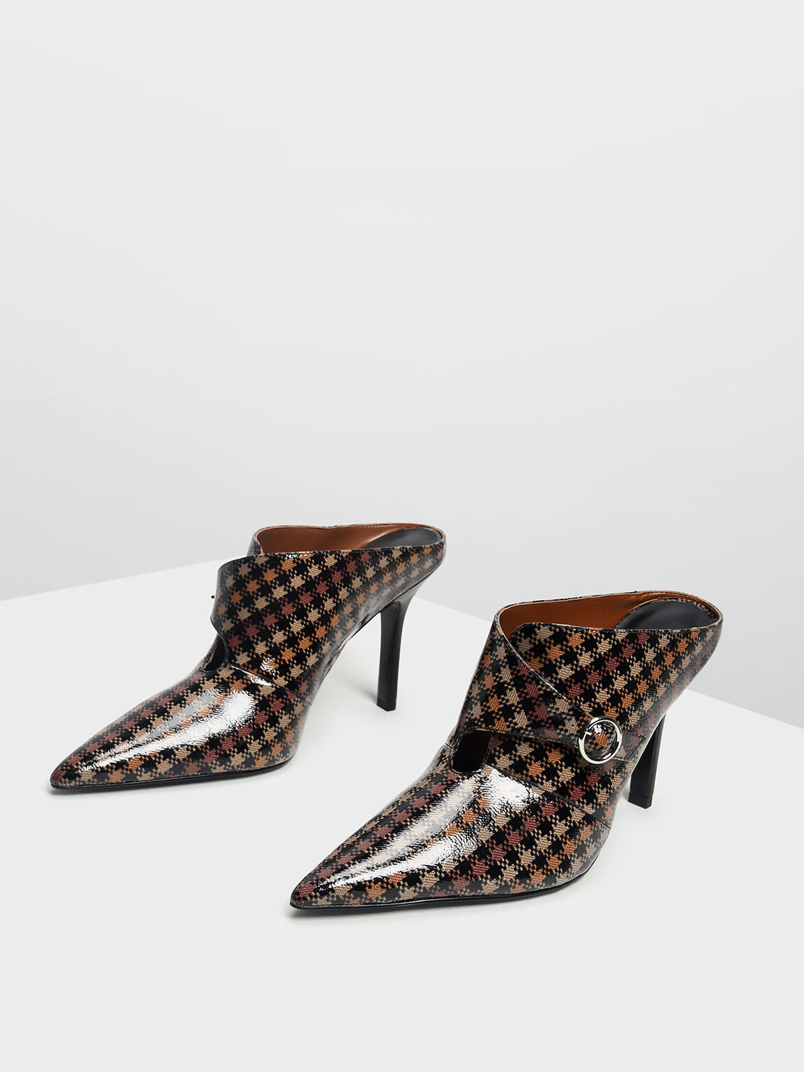 Houndstooth Print Stiletto Heel Mules, Brown, hi-res