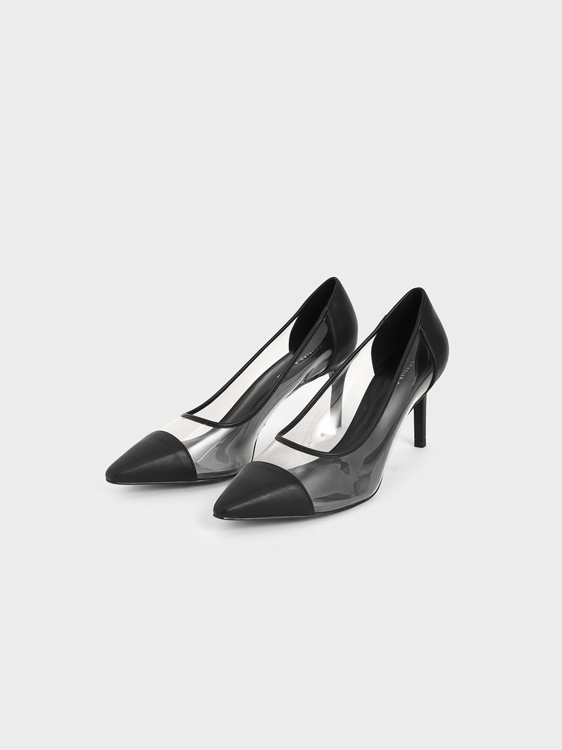 Toe Cap See-Through Pumps, Black Textured, hi-res