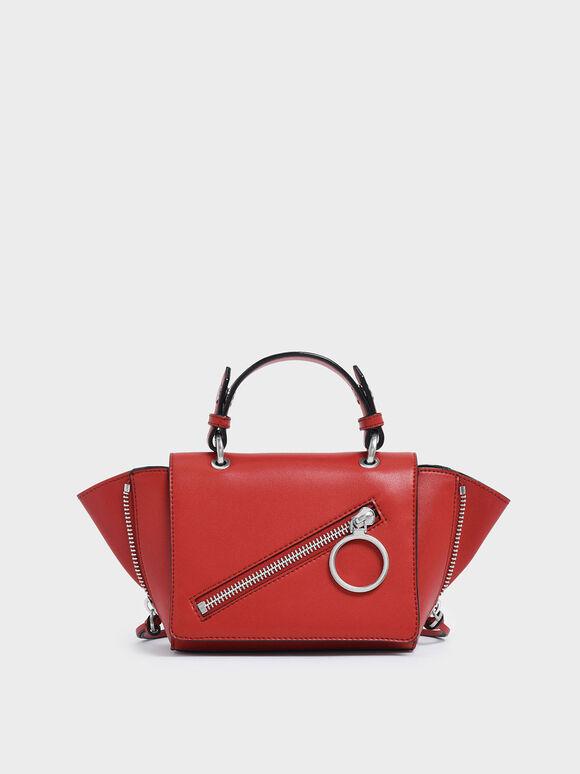 Ring Zip Pocket Trapeze Bag, Red, hi-res