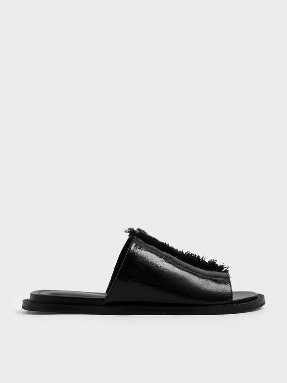Wrinkled Patent Frayed Zip Front Slide Sandals, Black, hi-res